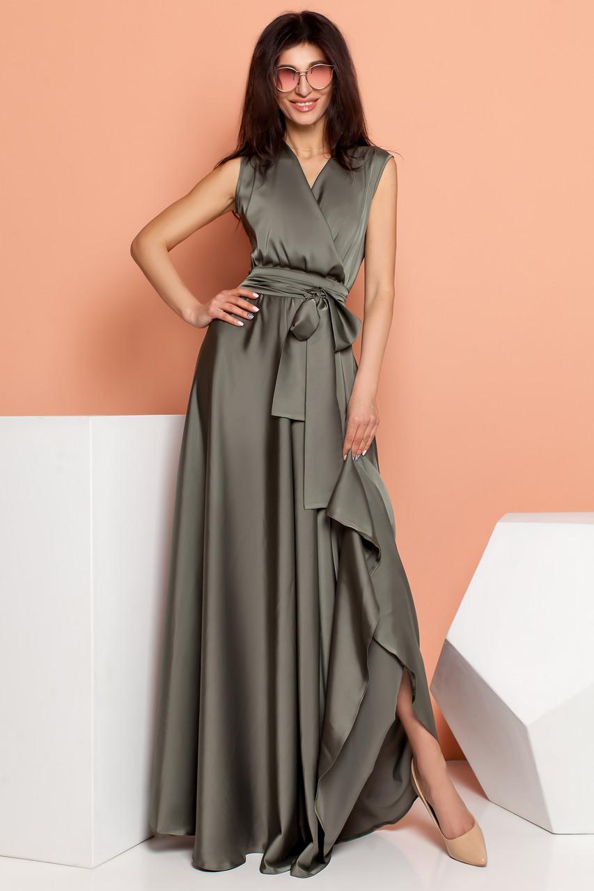 d96a907fc64 Струящееся Шелковое Платье Длинное на запах Хаки S-XL - Ukraine In Trend -  100