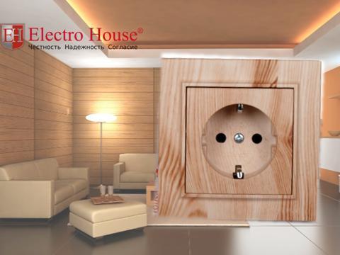 Розетка одинарная с заземлением и крышкой светлое дерево Enzo Electro House