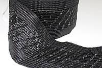 Тесьма пп 120мм (25м) черный+черный