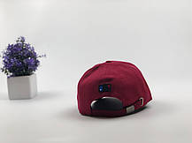 Кепка бейсболка New York Yankees с наклейками бордовый цвет, черный лого, фото 3