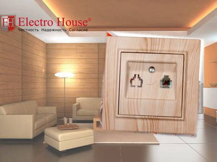 Розетка телефонная светлое дерево Enzo Electro House, фото 2