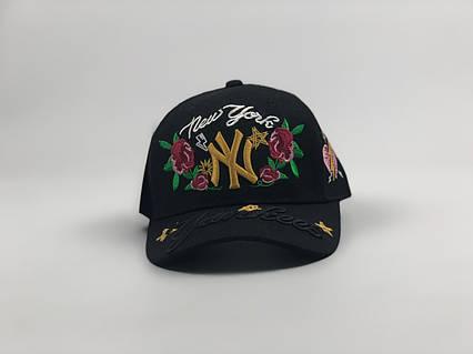 Кепка бейсболка New York Yankees Цветы черный цвет, золотое лого, фото 2