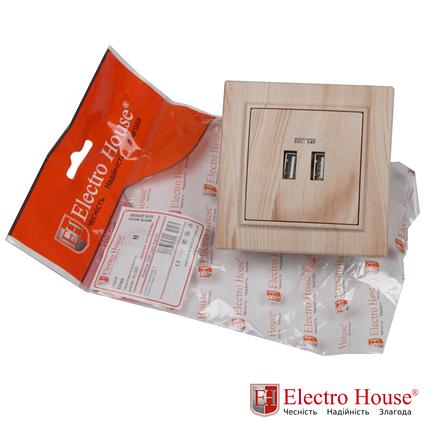 Розетка USB на два поста светлое дерево Enzo Electro House, фото 2
