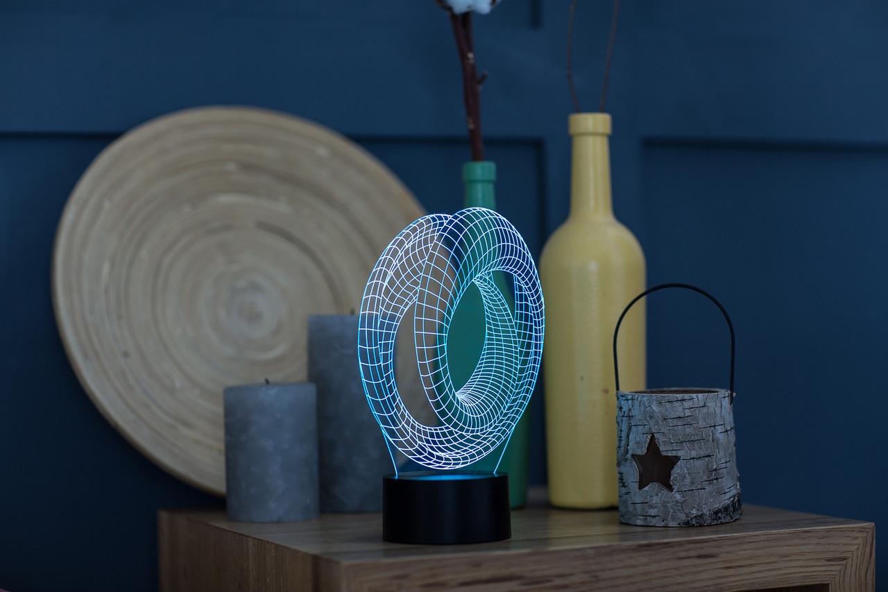"""3D лампа """"Лента Мебиуса 3"""" 3DTOYSLAMP, фото 1"""