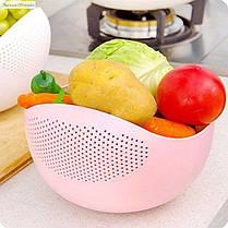 Большая миска 2 в 1  для фруктов, овощей, риса ( миска - дуршлаг ), фото 3