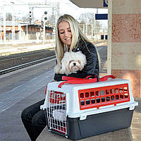 Переноска для котов и собак ATLAS 10 TRENDY+  Контейнер з ременем для транспортування тварин