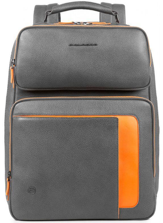 01b7f9aa3881 Кожаный рюкзак Piquadro ERSE/Grey-Orange CA4275S95_GRAR, 22 л, для ноутбука  15,6 дюймов/iPad Air/Pro
