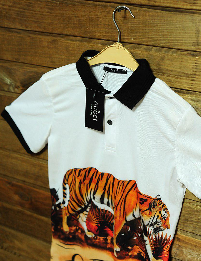 0a7dcd5ae0d4 ... Футболка мужская Gucci поло, классическая, принт тигр (белая), ТОП- реплика