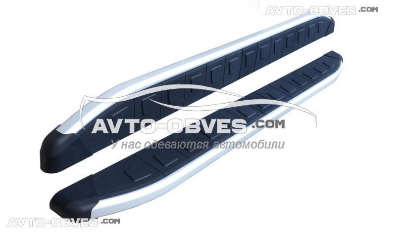 Подножки для Renault Kangoo 2008-..., стиль Porsche Cayenne, кор (L1) / длин (L2) базы