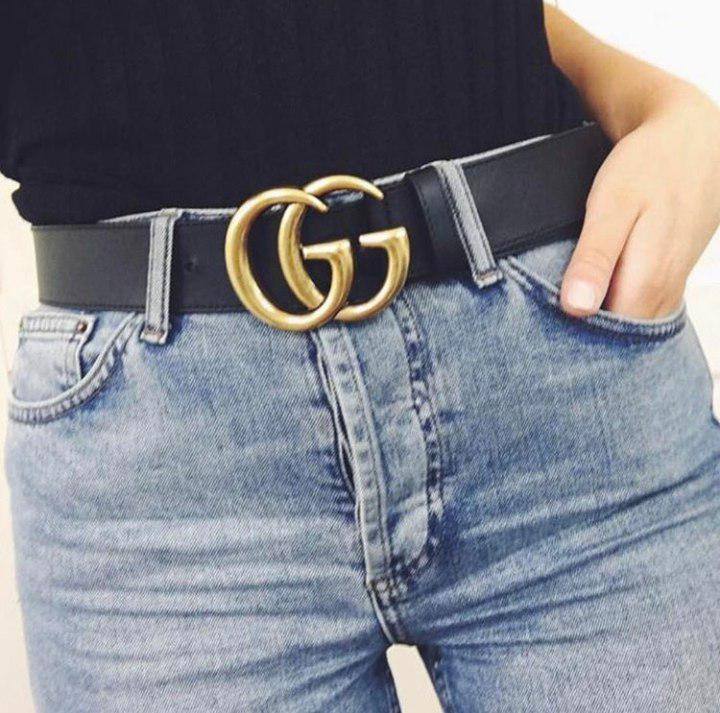 Ремень Gucci черный с золотой матовой пряжкой, средний 3,2 см