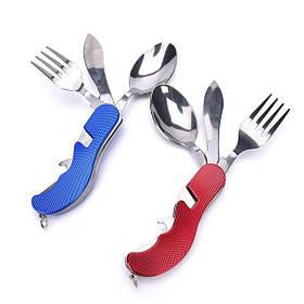 Складной набор для туризма и путешествий - нож, вилка, ложка, открыватель бутылок