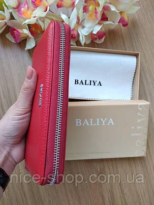 Красный кожаный  кошелёк на змейке серебряная фурнитура, фото 2