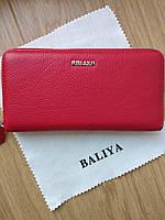 Красный кожаный  кошелёк на змейке серебряная фурнитура, фото 1