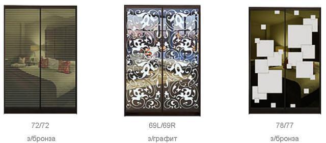 ШКАФЫ-КУПЕ с ФАСАДАМИ из тонированных зеркал с РИСУНКАМИ пескоструй (фото 2)