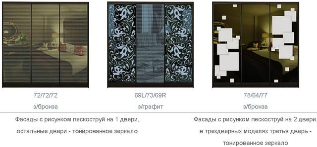 ШКАФЫ-КУПЕ с ФАСАДАМИ из тонированных зеркал с РИСУНКАМИ пескоструй (трехдверный, фото 4)