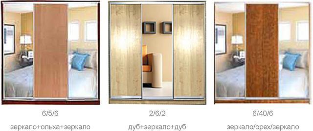 ШКАФЫ-КУПЕ с ФАСАДАМИ из ДСП и ЗЕРКАЛ (двери №1-3, 5-6, 40, 85) (фото 2)