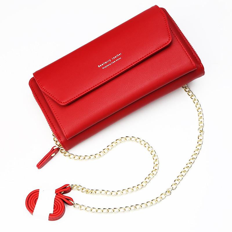 Женский кошелек BAELLERRY Ladies кожаный клатч с ремишком-цепочкой Красный (SUN0686)