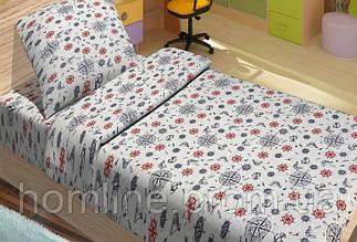 Детское постельное белье для подростков Lotus Young ранфорс Anchor голубой полуторный размер