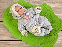 """Велюровый комбинезончик с шапочкой для младенцев """"Маленькие стиляжки"""" мишка, на хлопковом подкладе, фото 1"""