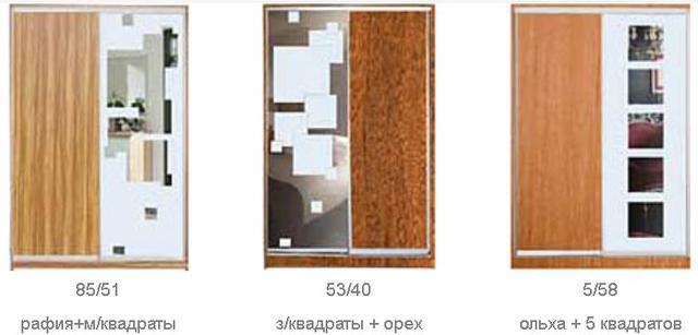 ШКАФЫ-КУПЕ с фасадами из ДСП, МАТОВЫХ зеркал и зеркал с РИСУНКОМ пескоструй на 1 двери (двери №1-3, 5, 40, 85, 44-63) фото 2