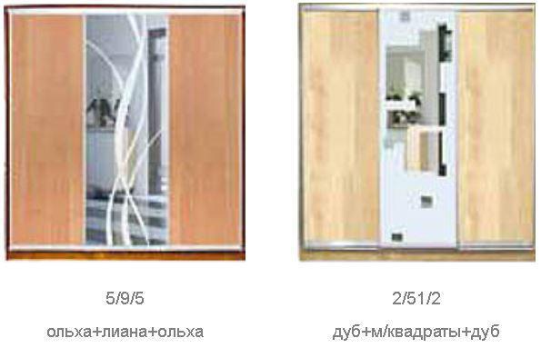 ШКАФЫ-КУПЕ с фасадами из ДСП, МАТОВЫХ зеркал и зеркал с РИСУНКОМ пескоструй на 1 двери (двери №1-3, 5, 40, 85, 44-63) фото 4