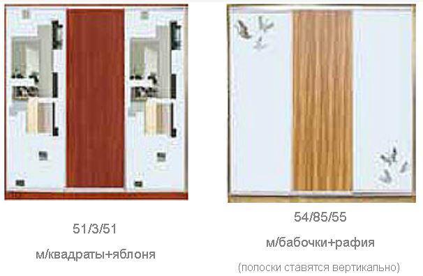 ШКАФЫ-КУПЕ с фасадами из ДСП, МАТОВЫХ зеркал и зеркал с РИСУНКОМ пескоструй на 2 двери (двери №1-3, 5, 40, 85, 44-63) (фото 2)