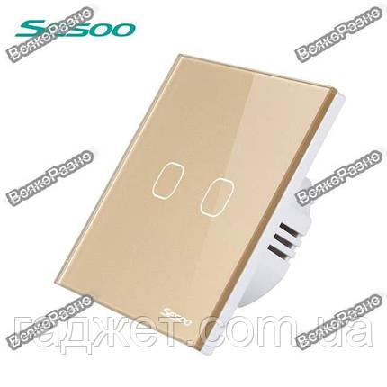 Двухлинейный сенсорный выключатель Sesoo золотого цвета., фото 2