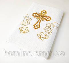 Крыжма детское полотенце для крещения Lotus вышивка белое с золотом 70*140 (16\1) 400 гр\м2