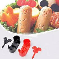 Формы Микки для детских завтраков ( набор формочек для украшения бутербродов с вилками для канапе ), фото 2