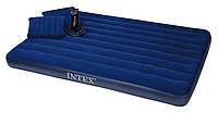 Матрас велюровый Intex 203*152*22см + насос и 2 подушки (68765), надувной для отдыха на природе, моря, дома