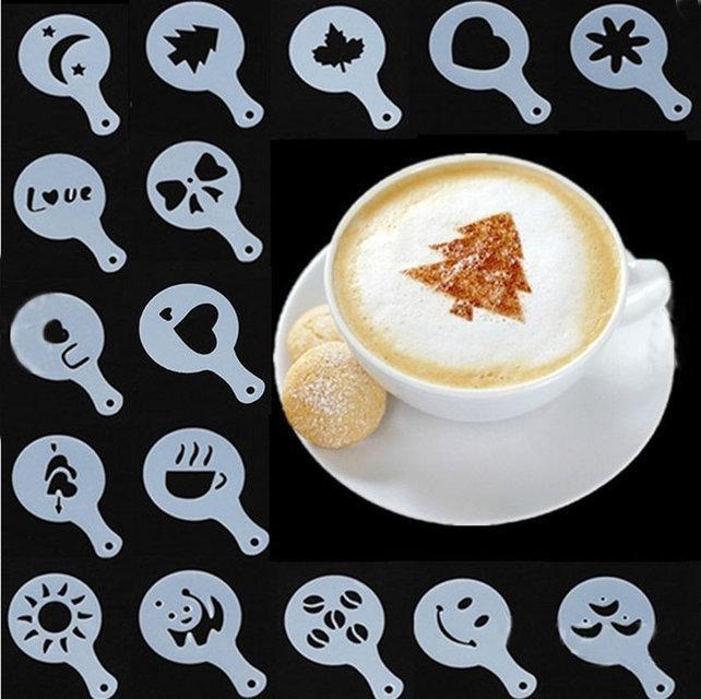 Трафареты для украшения кофе, печенья, бисквита и выпечки, упаковка 16 шт