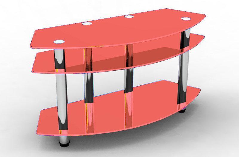 Стеклянная тумба под TV Эрмитаж Розовая (Sentenzo TM)