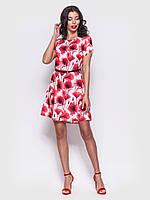 Платье мини с цельнокроеным рукавом в цветочном принте ЛЕТО