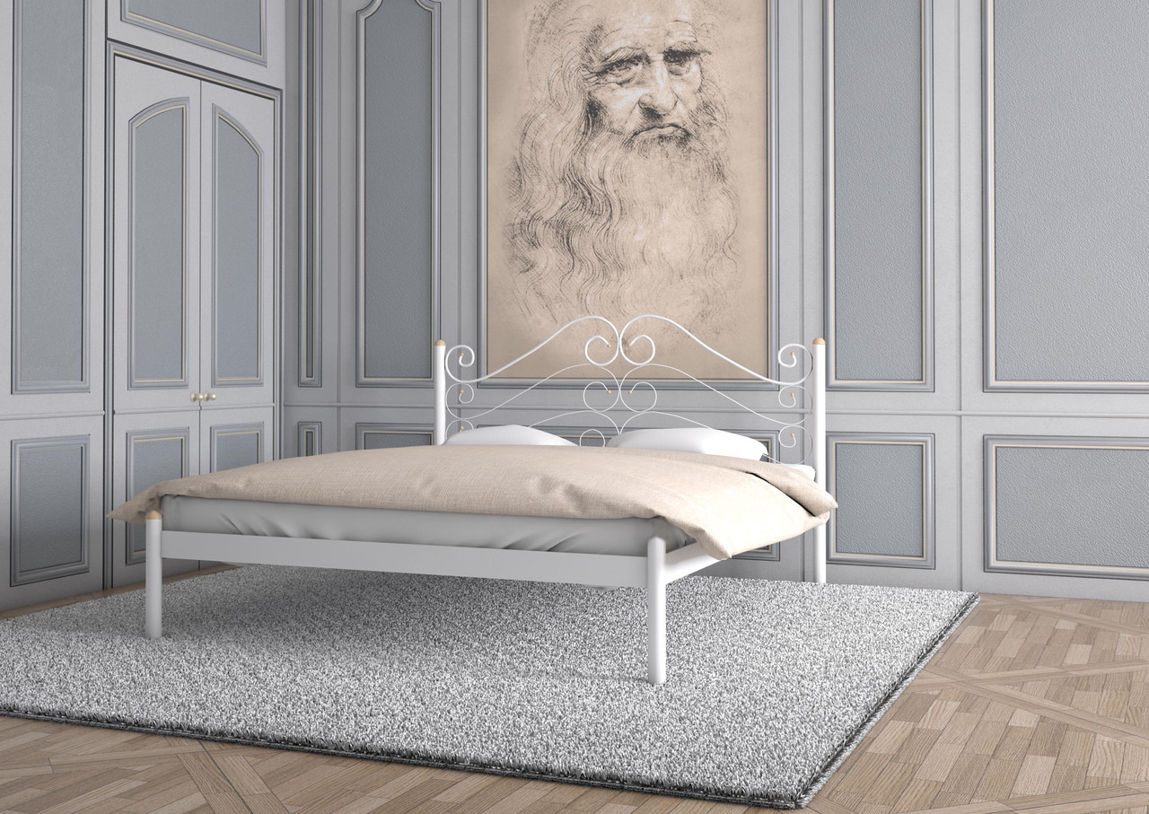 Кровать Адель белый бархат 160*190 (Металл дизайн)