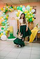 Набір святковий для дівчинки Спідниця фатінова  кофтинка гіпюрова нижня бавовняна сукня