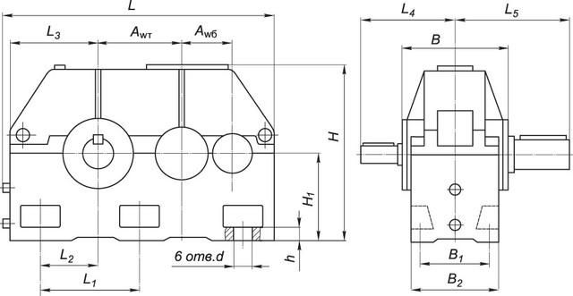 Схема габаритных и присоединительных размеров редуктора 1Ц2У-500