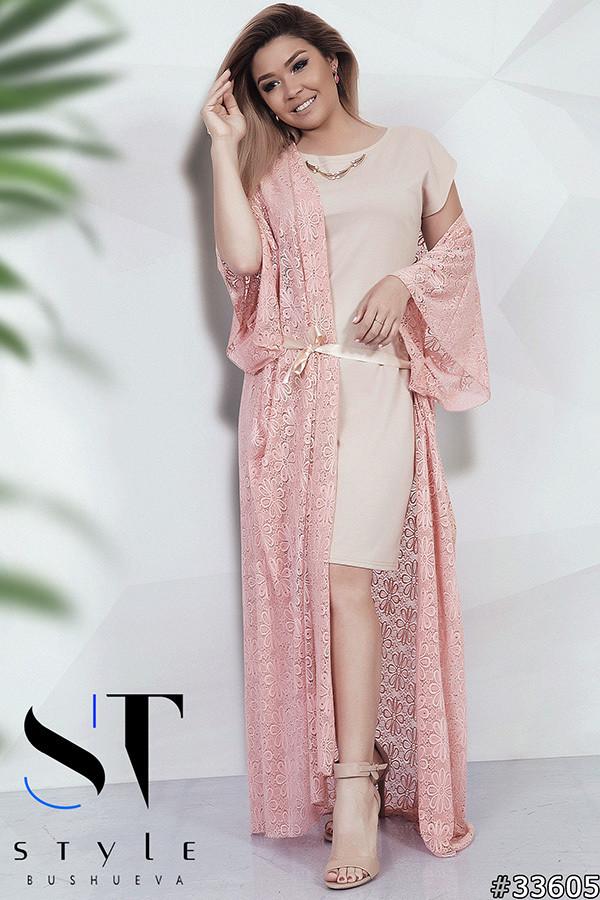Летний комплект больших размеров 48+ платье и кардиган / 2 цвета арт 5437-8