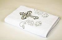 Крыжма детское полотенце для крещения Lotus вышивка белое с серебром 70*140 (16\1) 400 гр\м2