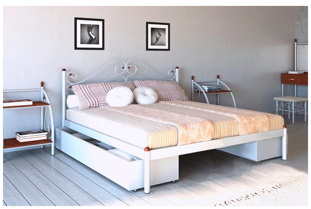 Кровать Адель белый бархат 180*200 с двумя ящиками (Металл дизайн)