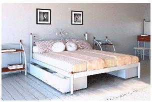 Кровать Адель белый бархат 180*200 с двумя ящиками (Металл дизайн), фото 2