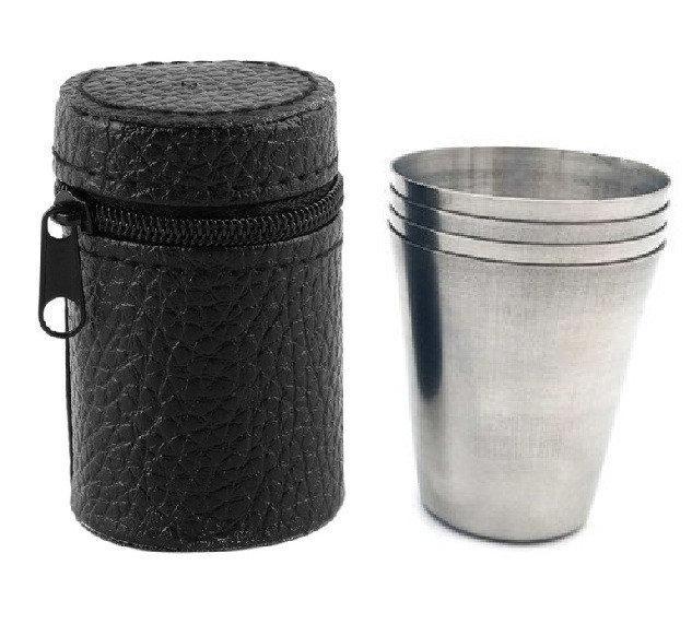 Стальные стаканчики в кожаном чехле ( дорожный набор )