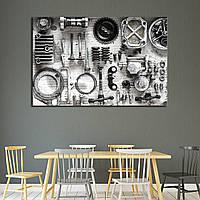 Картина - Запчасти мотоцикла в черно - белом, для декора кухни