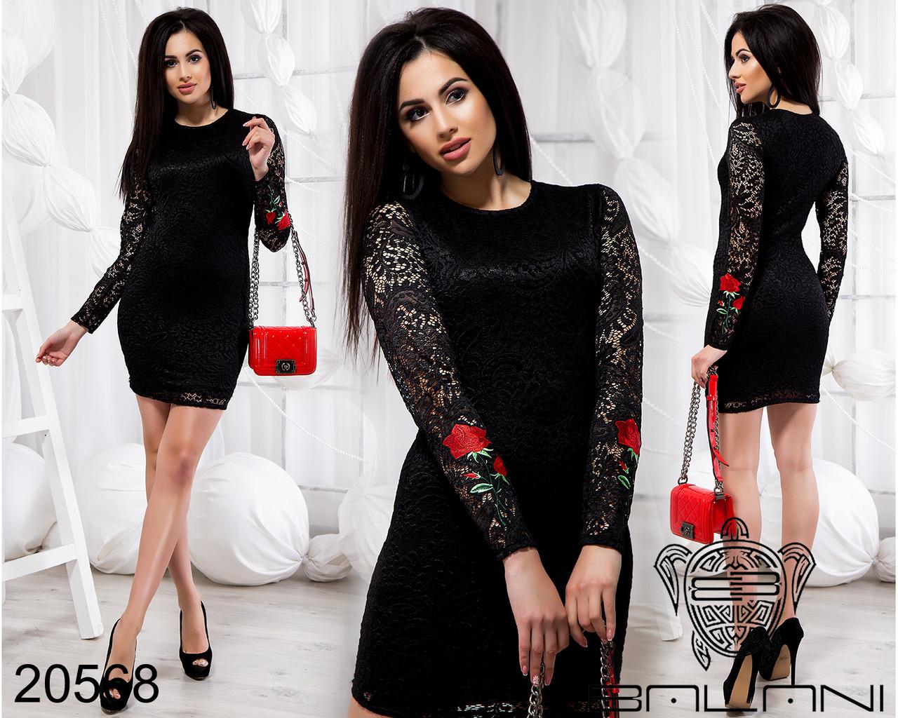 Черное платье из гипюра