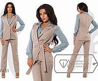 Костюм-тройка под пояс - приталенная рубашка из креп-шифона, классический длинный жилет и прямые брюки из поливискозы 9431