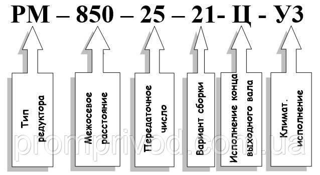 Условное обозначение редуктора РМ-850