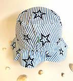 Головной убор для мальчиков. Панамка Сашка Размер 54 Звезды Голубой Бабасик Украина, фото 2