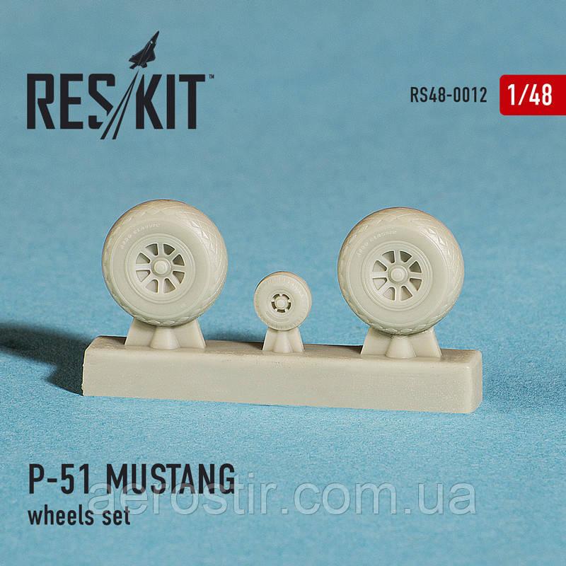 North American P-51 MUSTANG wheels set 1/48 RES/KIT 48-0012