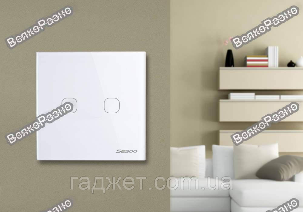 Двухлинейный сенсорный выключатель Sesoo белого цвета.Сенсорный выключатель Sesoo