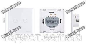 Двухлинейный сенсорный выключатель Sesoo белого цвета.Сенсорный выключатель Sesoo, фото 2