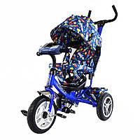 Велосипед трехколесный TILLY Trike T-351-10 СИНИЙ с большими надувными колесами рус.музыка